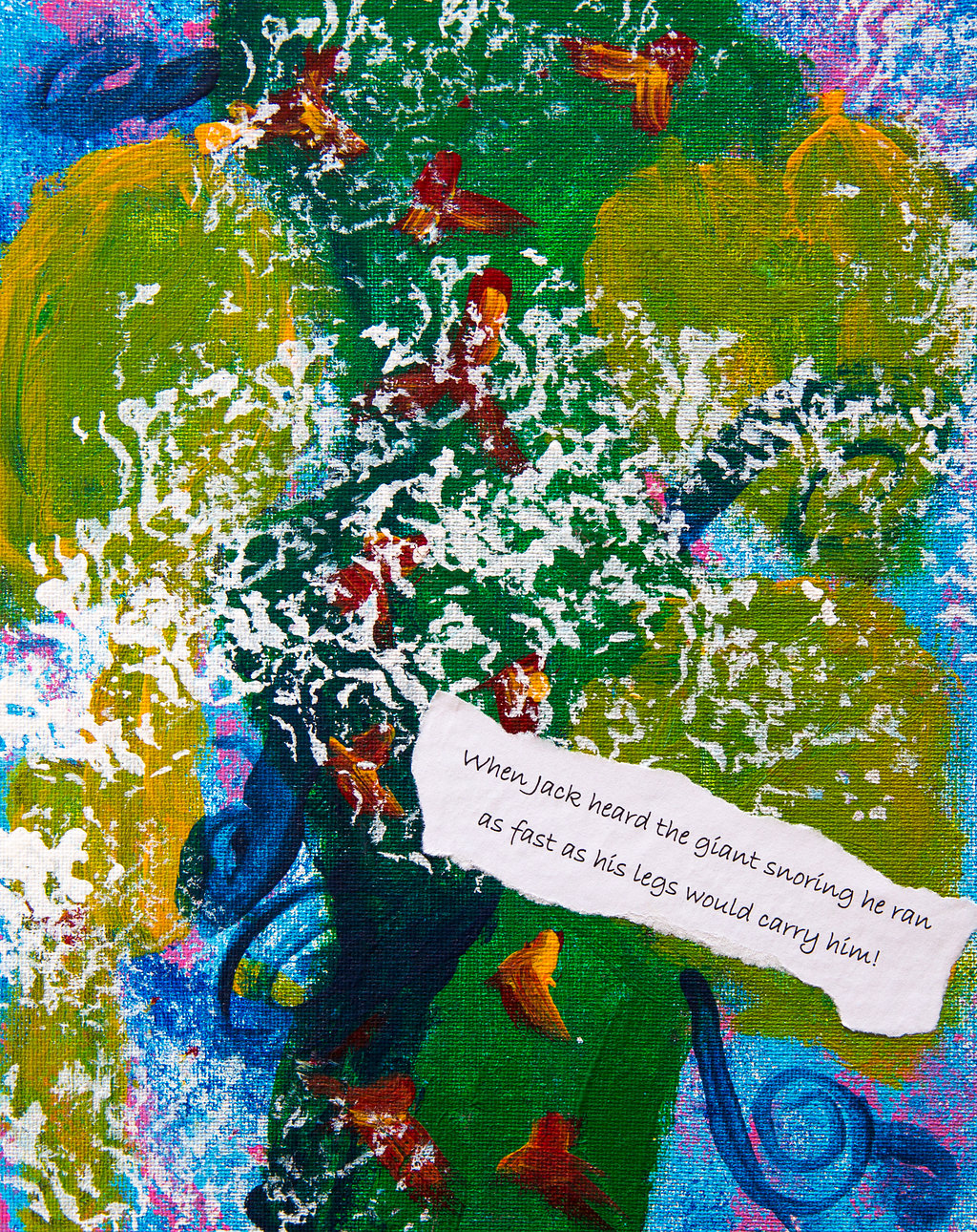 Painting inspired by the story of Jack and the Bean Stalk by Year 1 - Yeading Infant and Nursery School Hillingdon