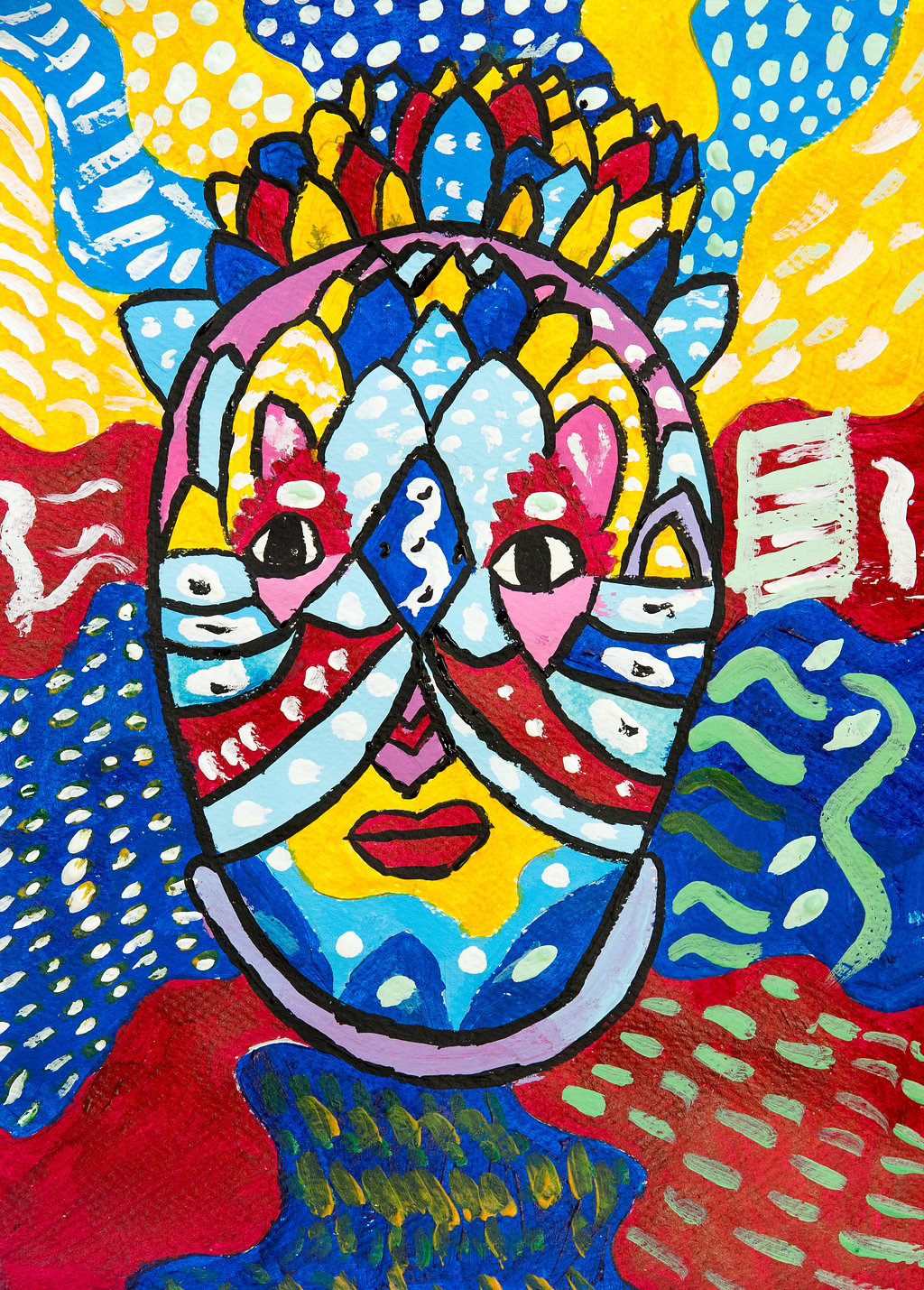 Paintings inspired by African Masks by Y5 at St Peter's CE Primary School Herts