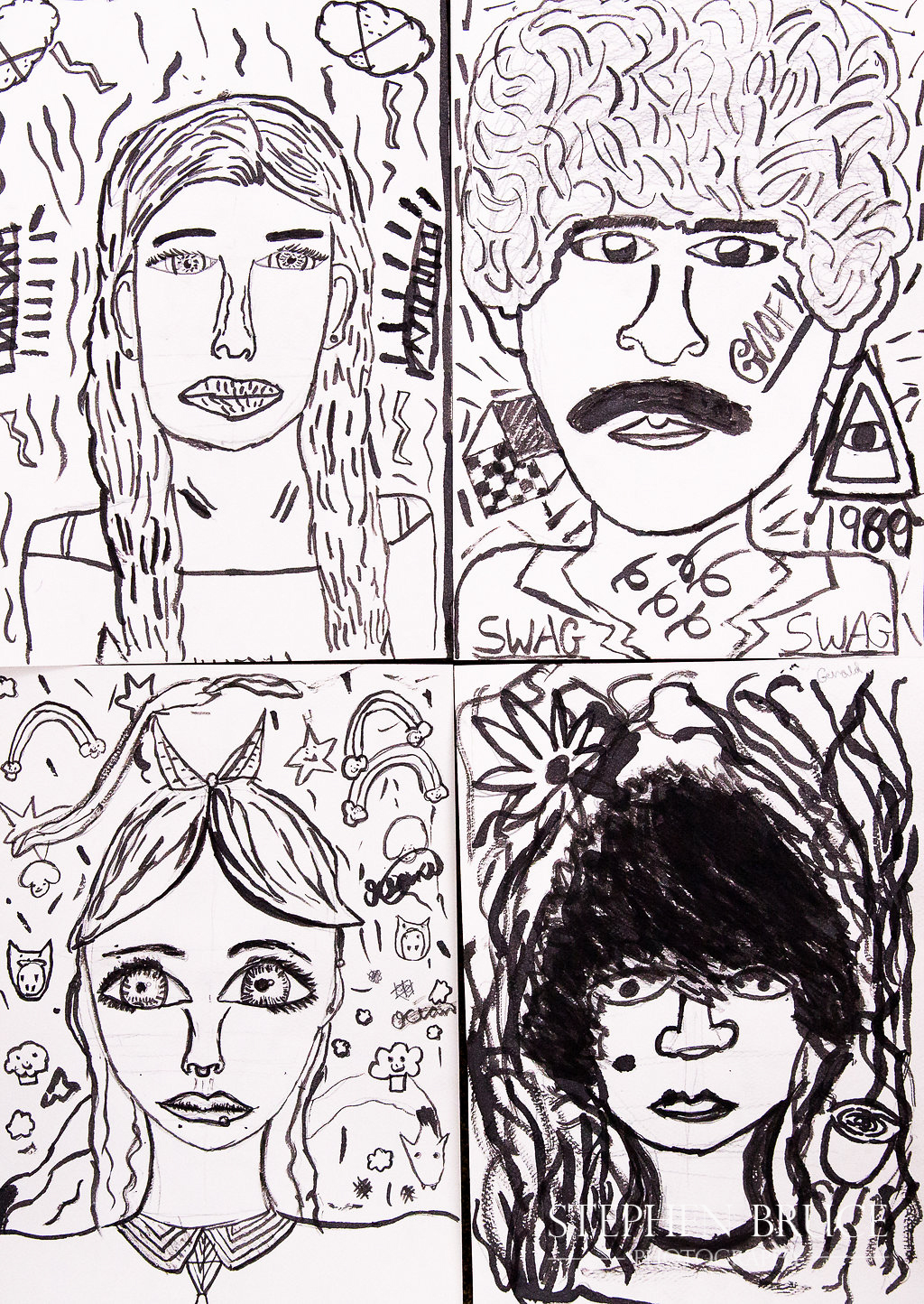 Portraits in brush and ink - Tales from the Community - Holy Trinity Primary School Sloane Square - Art Project - Chalice Arts UK Ltd - Stephen Bruce