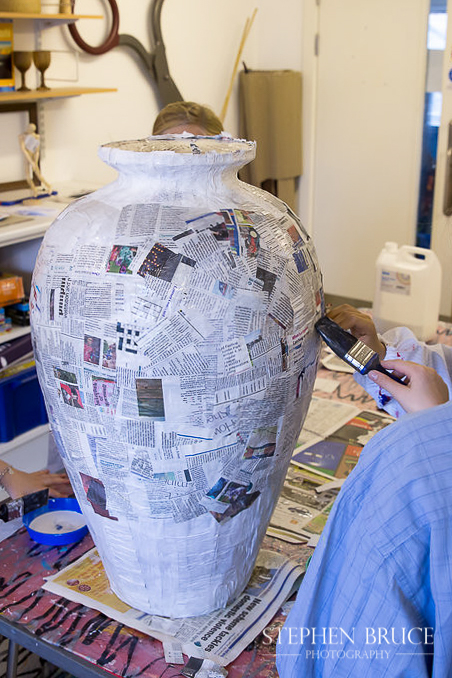 """Making a papier-mache pot illustrating stories for the """"Tales from the Community"""" writing project - Y5 at Christ Church CE Primary School Chelsea RBKC"""