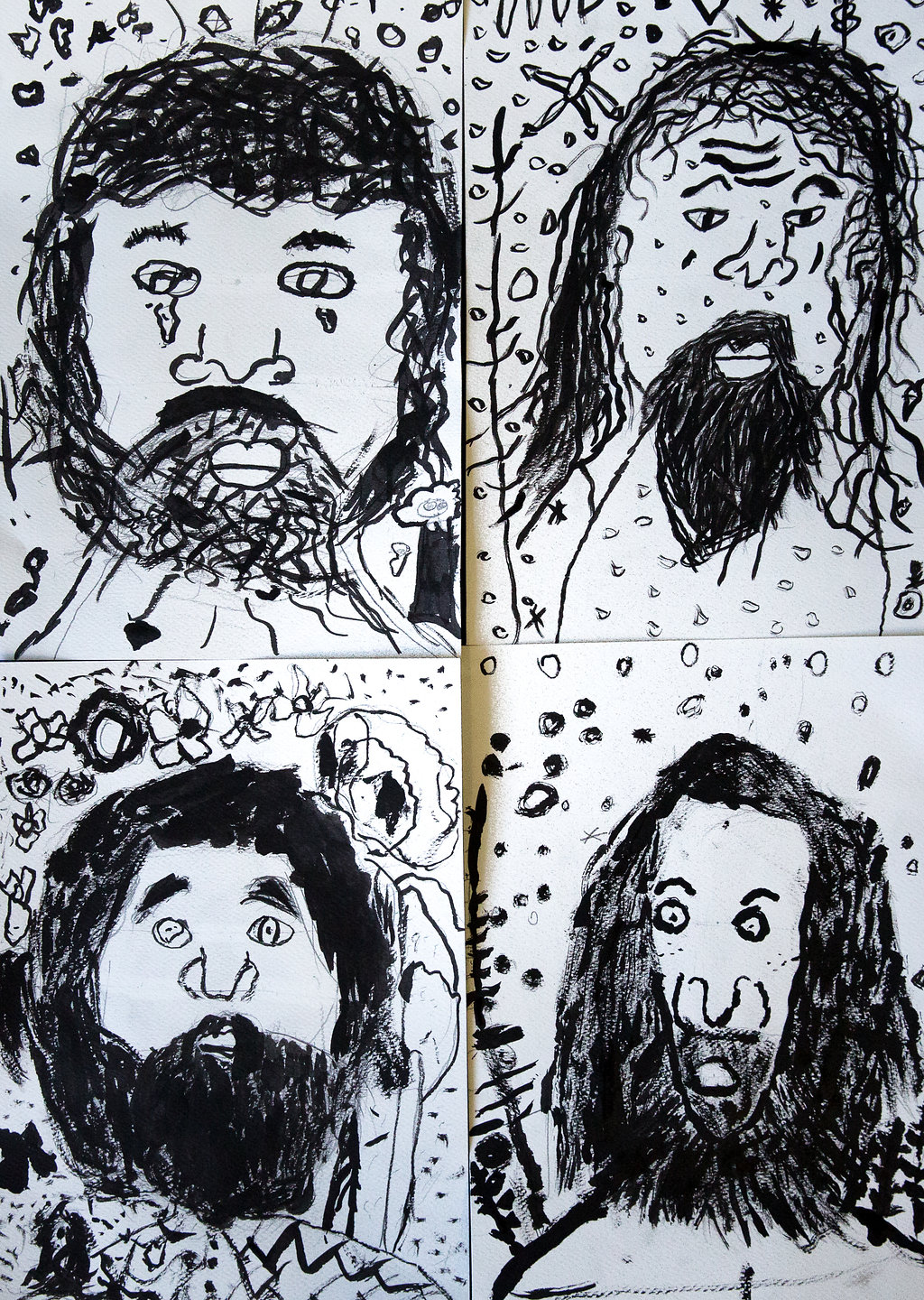 Book character drawings in brush and ink